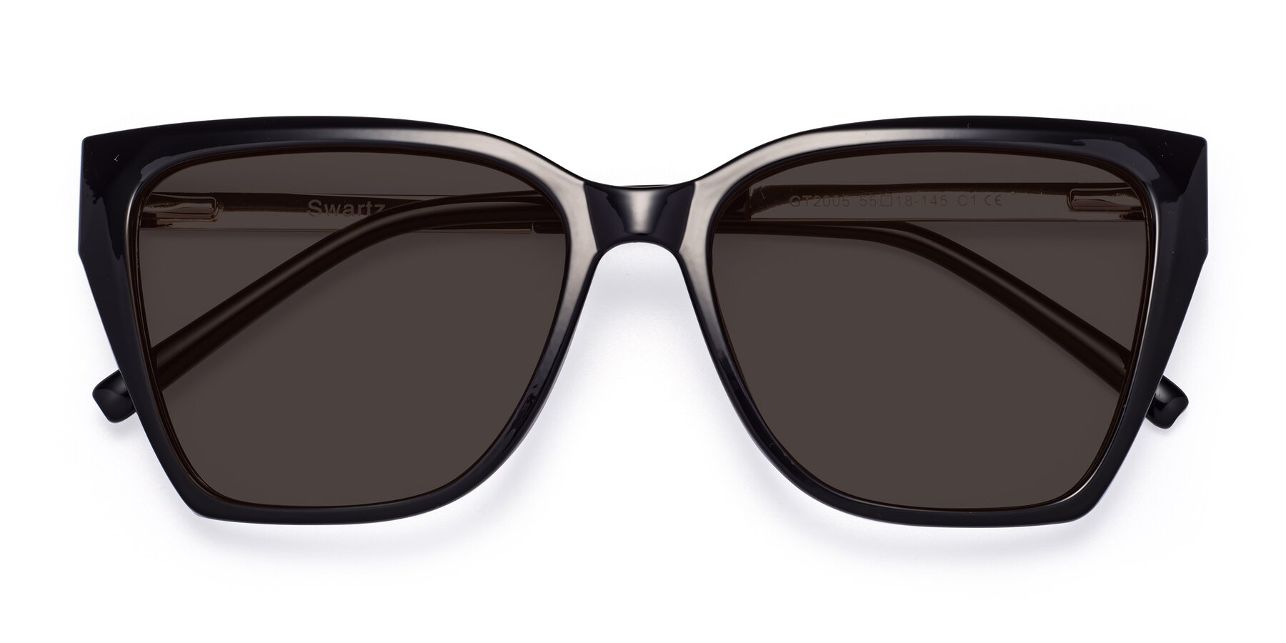 Folded Front of Swartz in Black with Gray Tinted Lenses