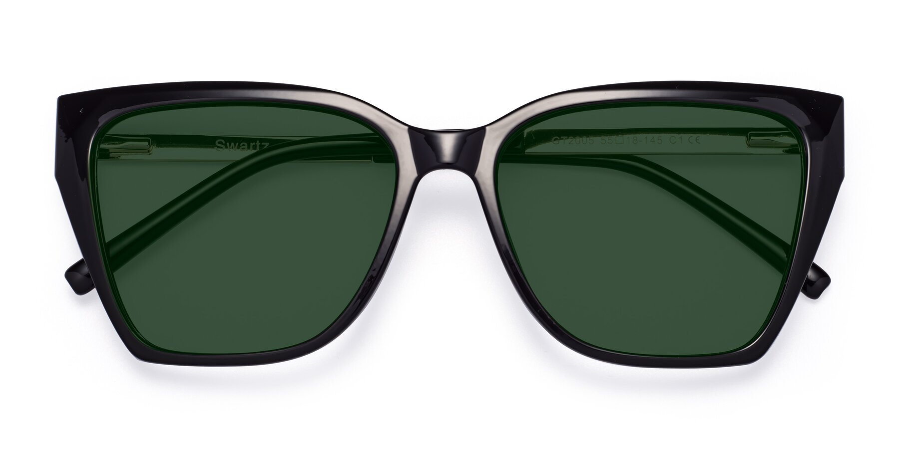 Folded Front of Swartz in Black with Green Tinted Lenses