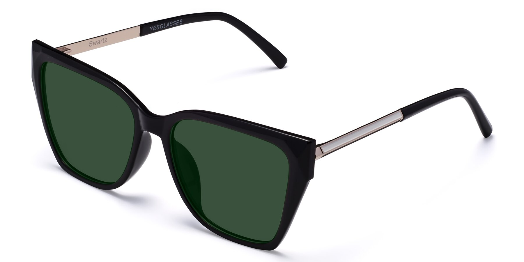 Angle of Swartz in Black with Green Tinted Lenses