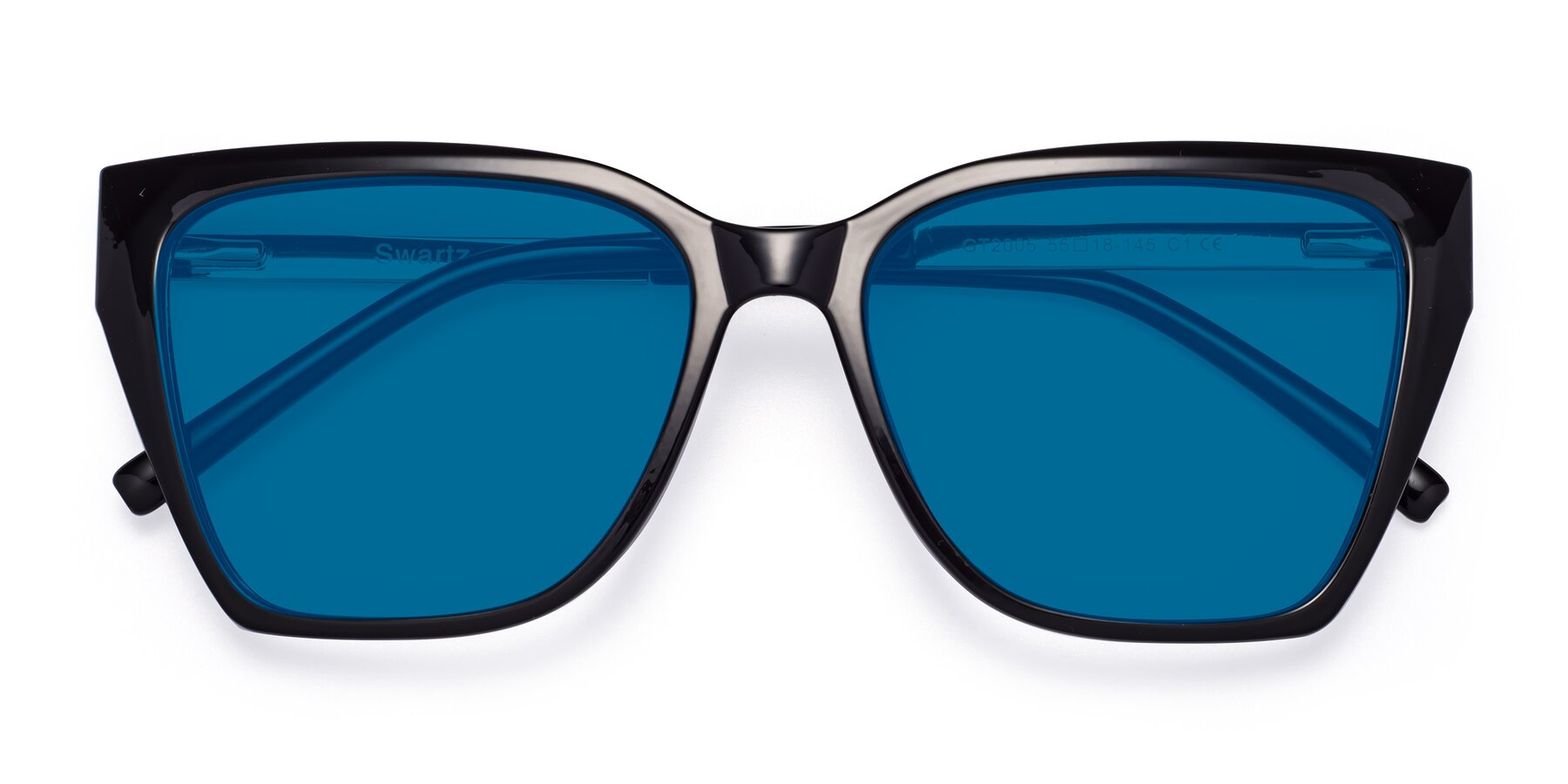 Folded Front of Swartz in Black with Blue Tinted Lenses