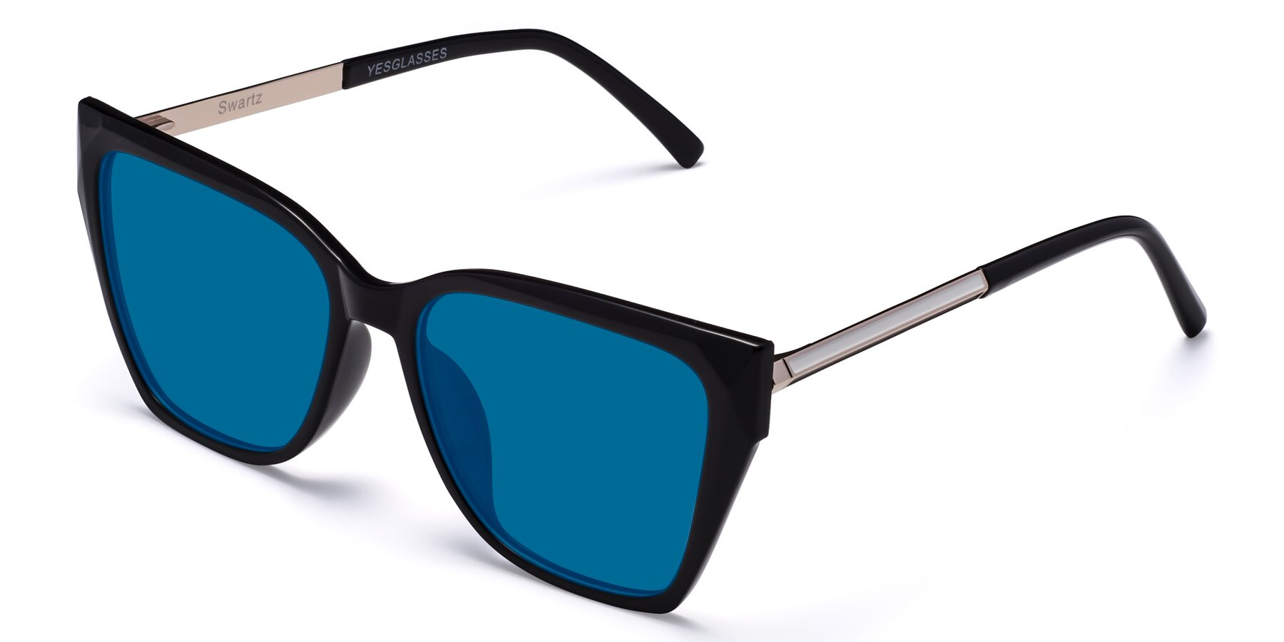 Angle of Swartz in Black with Blue Tinted Lenses