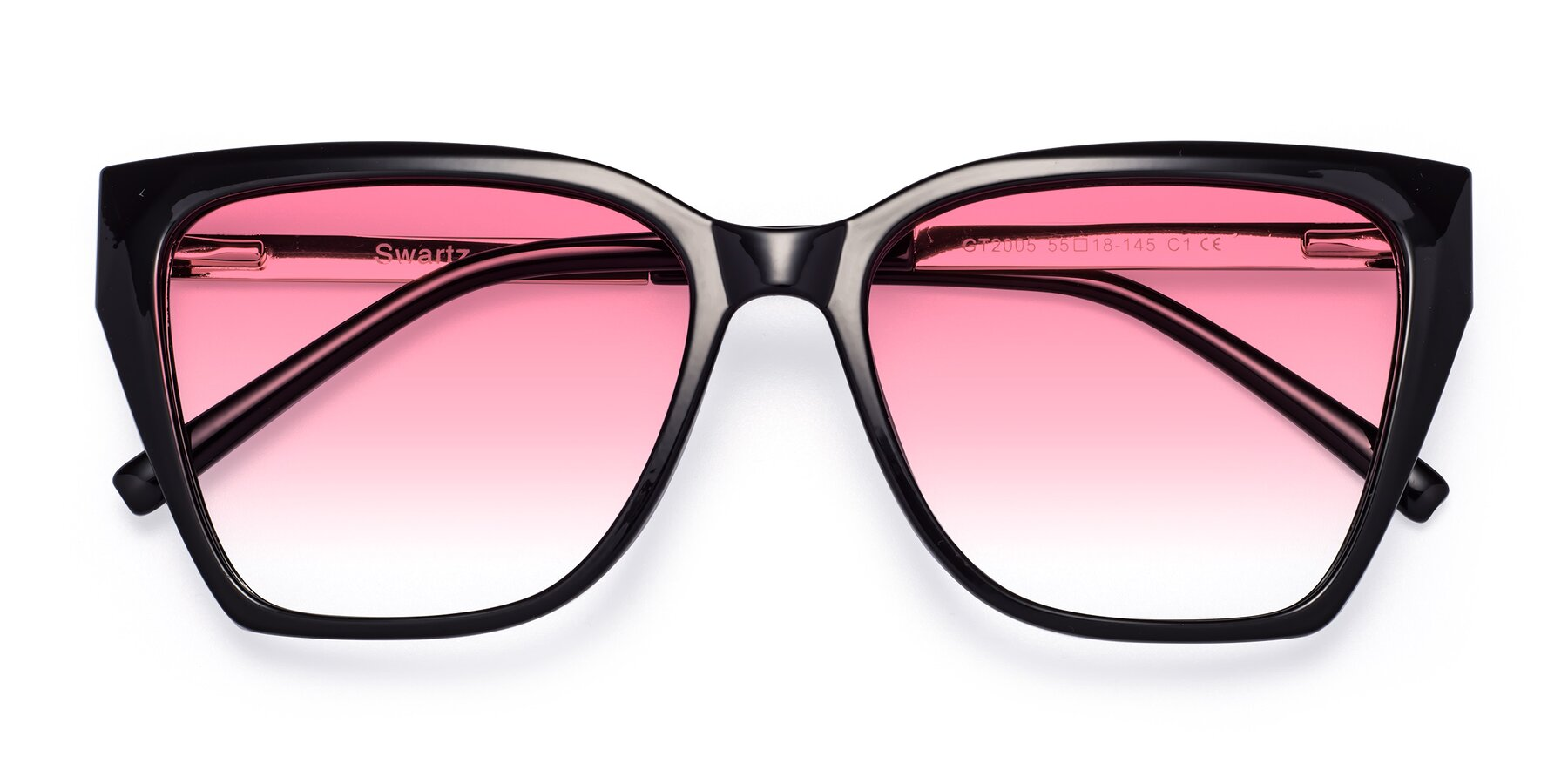 Folded Front of Swartz in Black with Pink Gradient Lenses
