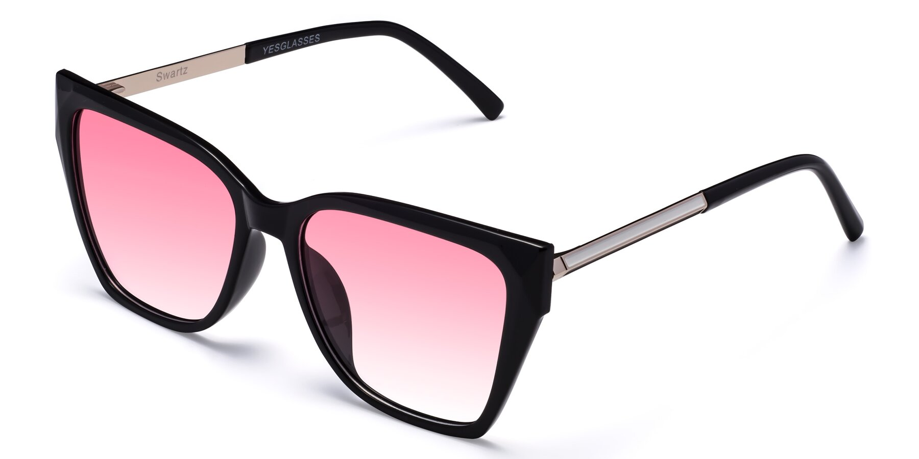 Angle of Swartz in Black with Pink Gradient Lenses