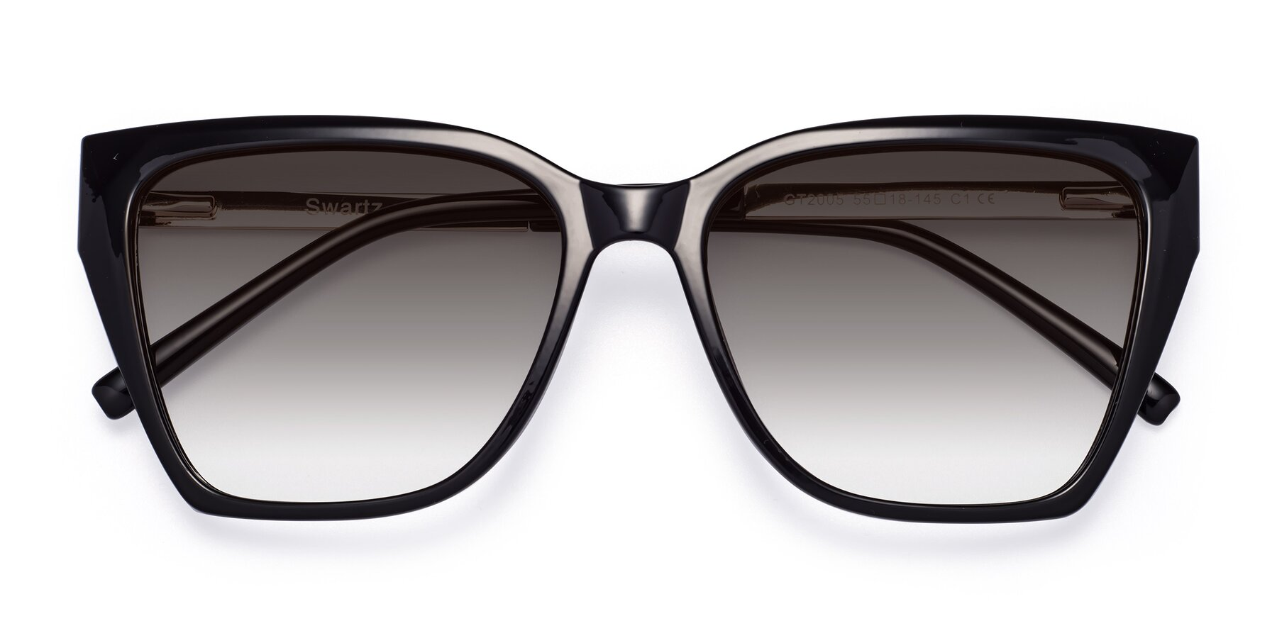 Folded Front of Swartz in Black with Gray Gradient Lenses