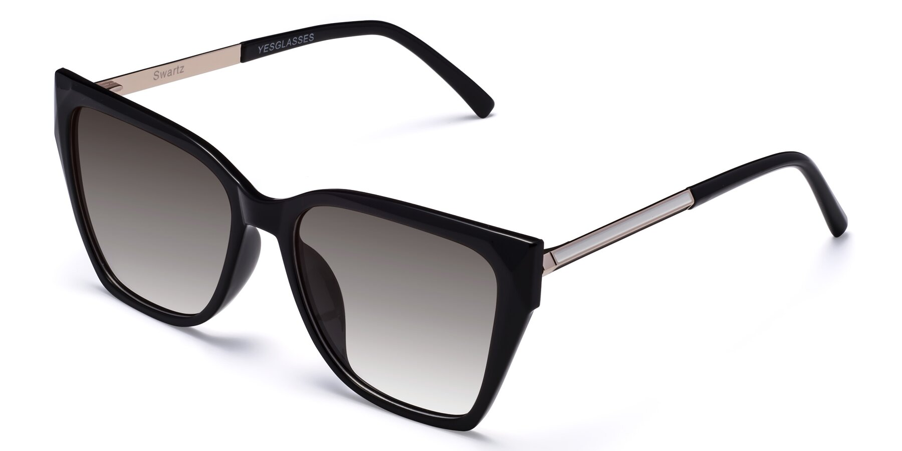 Angle of Swartz in Black with Gray Gradient Lenses