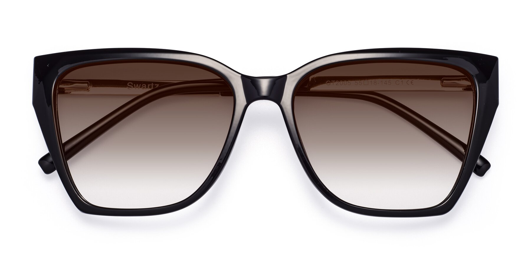 Folded Front of Swartz in Black with Brown Gradient Lenses