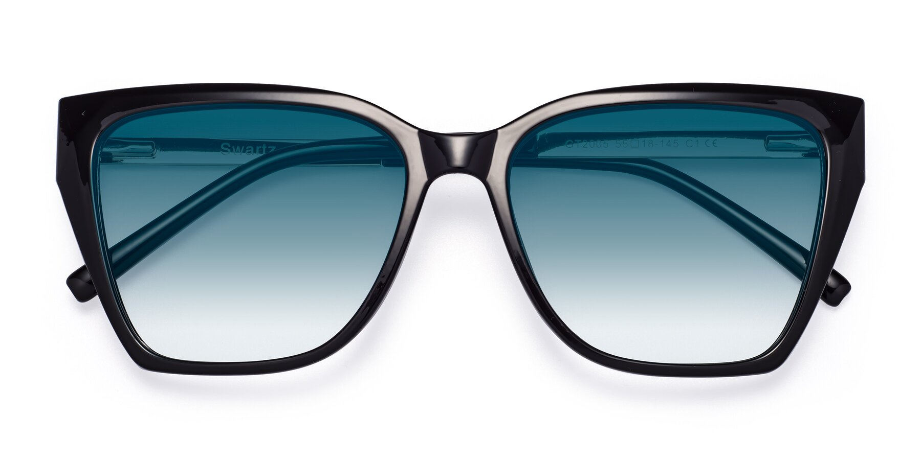 Folded Front of Swartz in Black with Blue Gradient Lenses