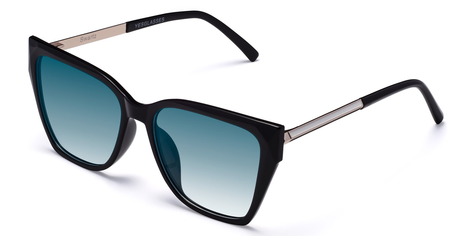 Angle of Swartz in Black with Blue Gradient Lenses