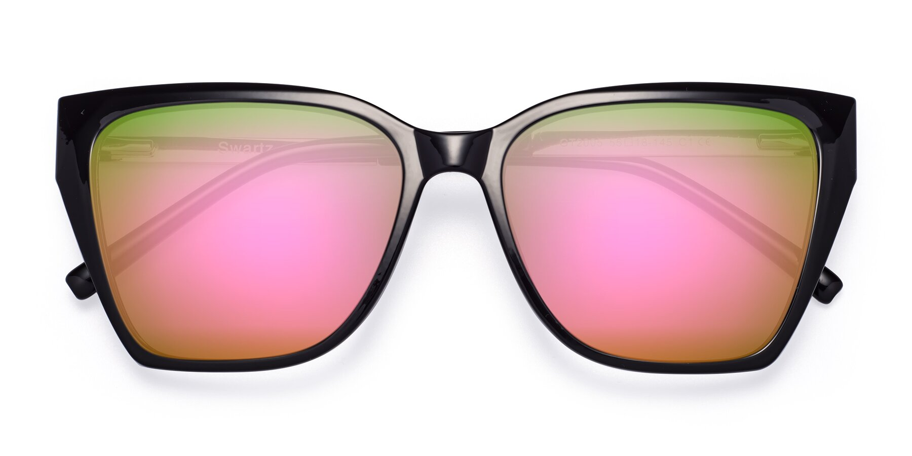 Folded Front of Swartz in Black with Pink Mirrored Lenses