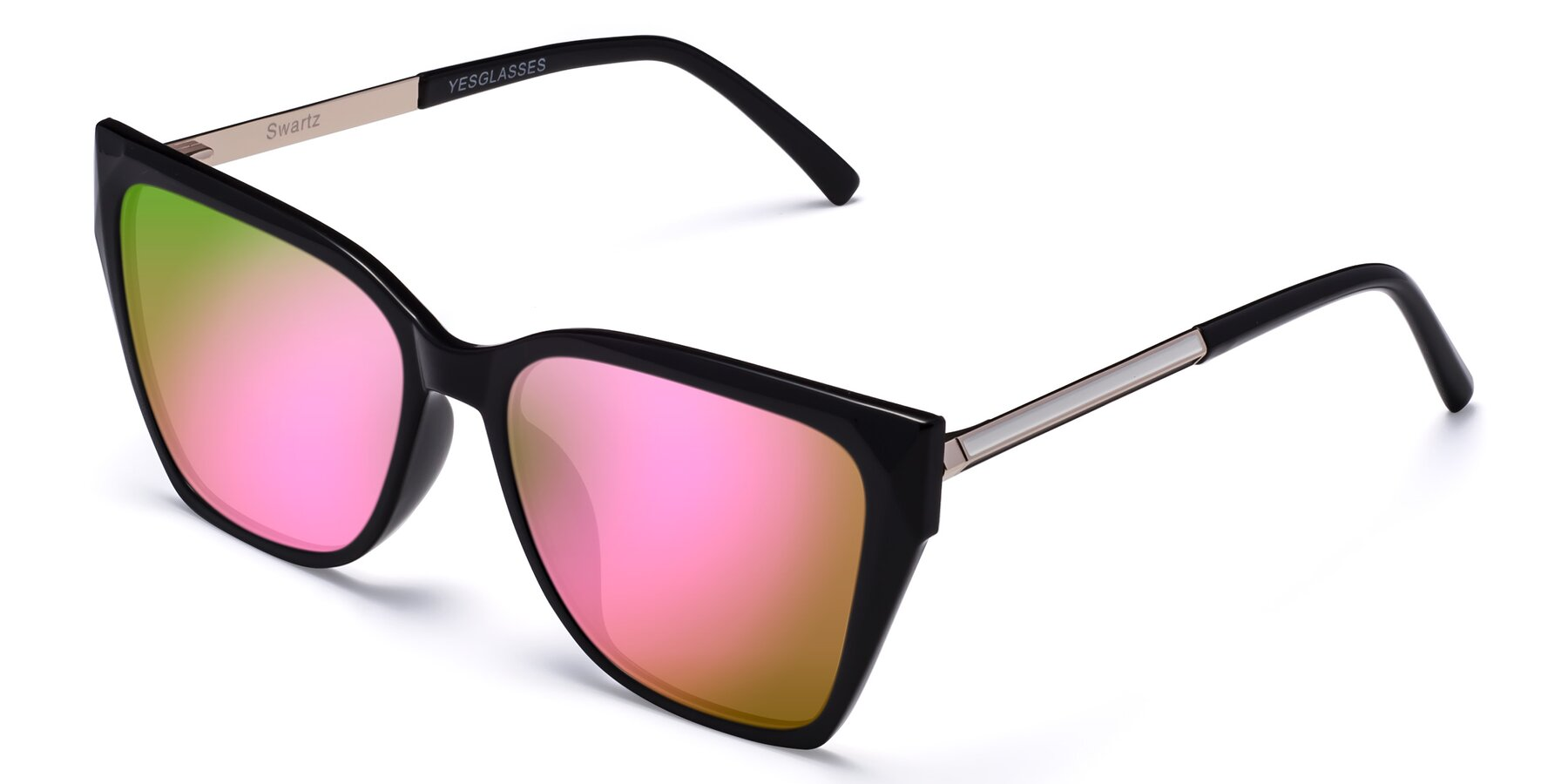 Angle of Swartz in Black with Pink Mirrored Lenses