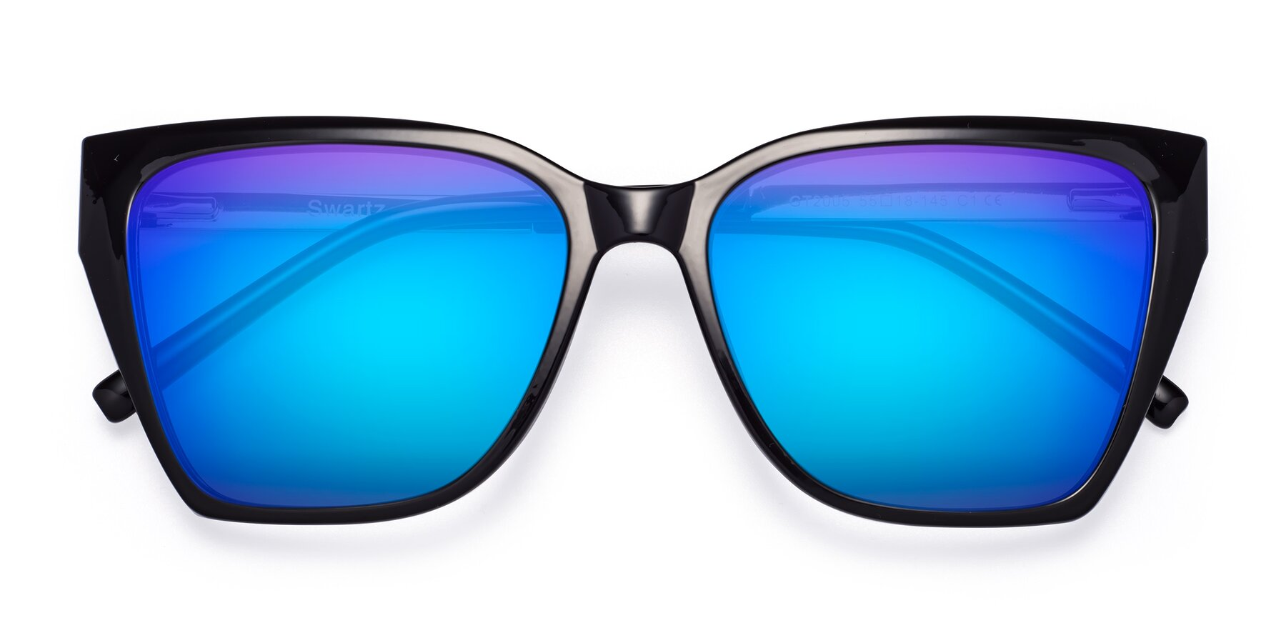 Folded Front of Swartz in Black with Blue Mirrored Lenses