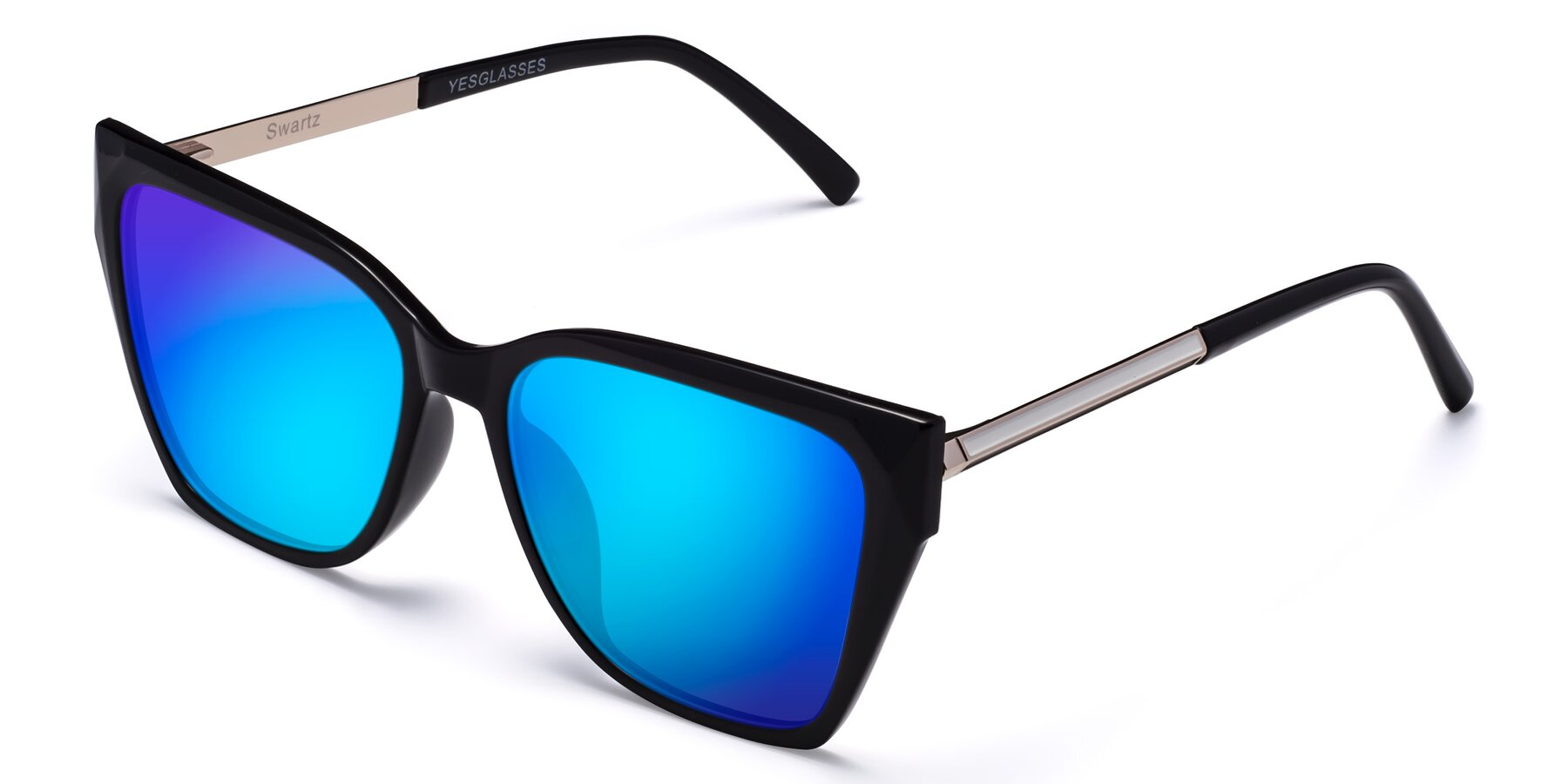 Angle of Swartz in Black with Blue Mirrored Lenses