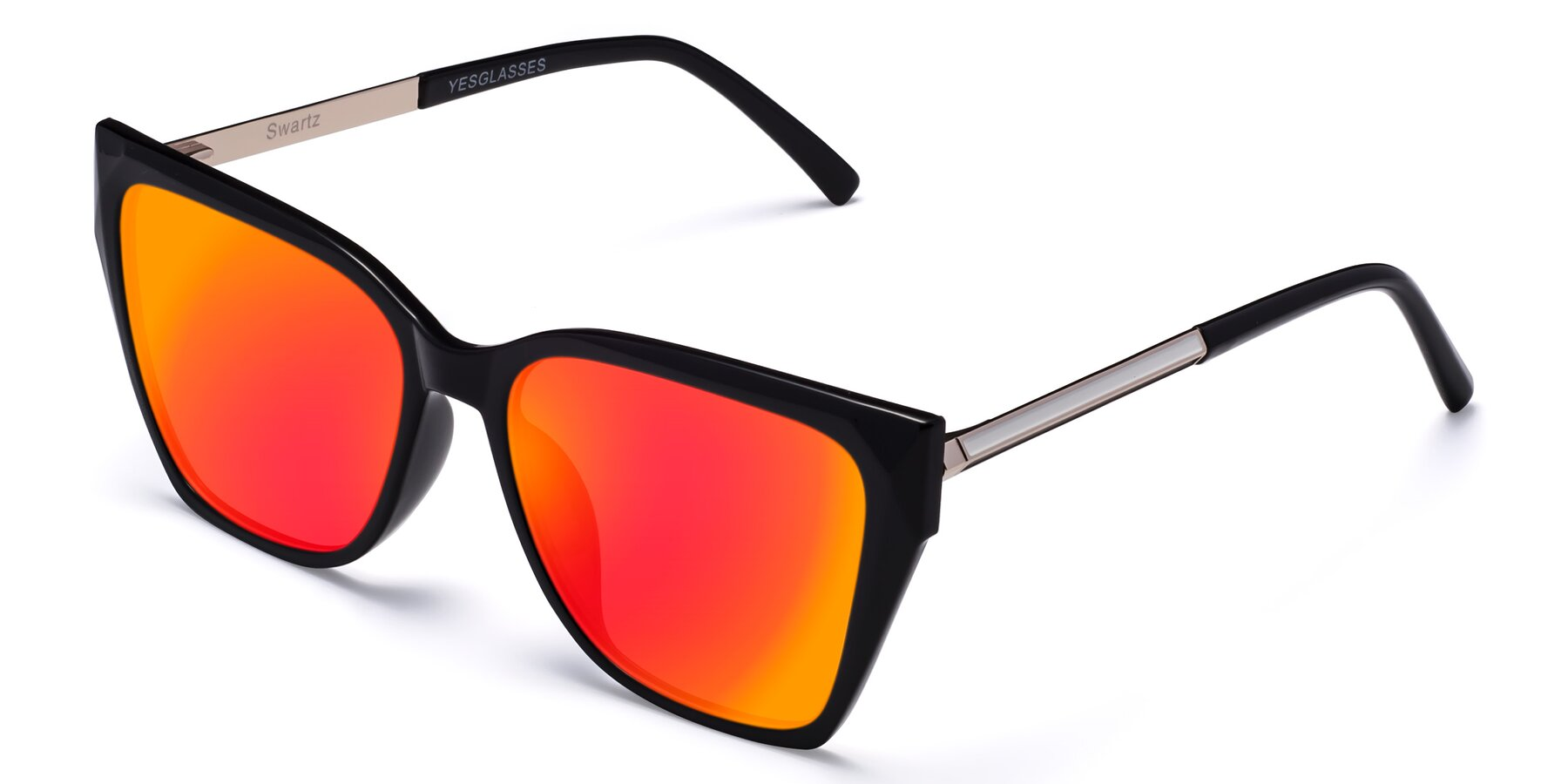 Angle of Swartz in Black with Red Gold Mirrored Lenses