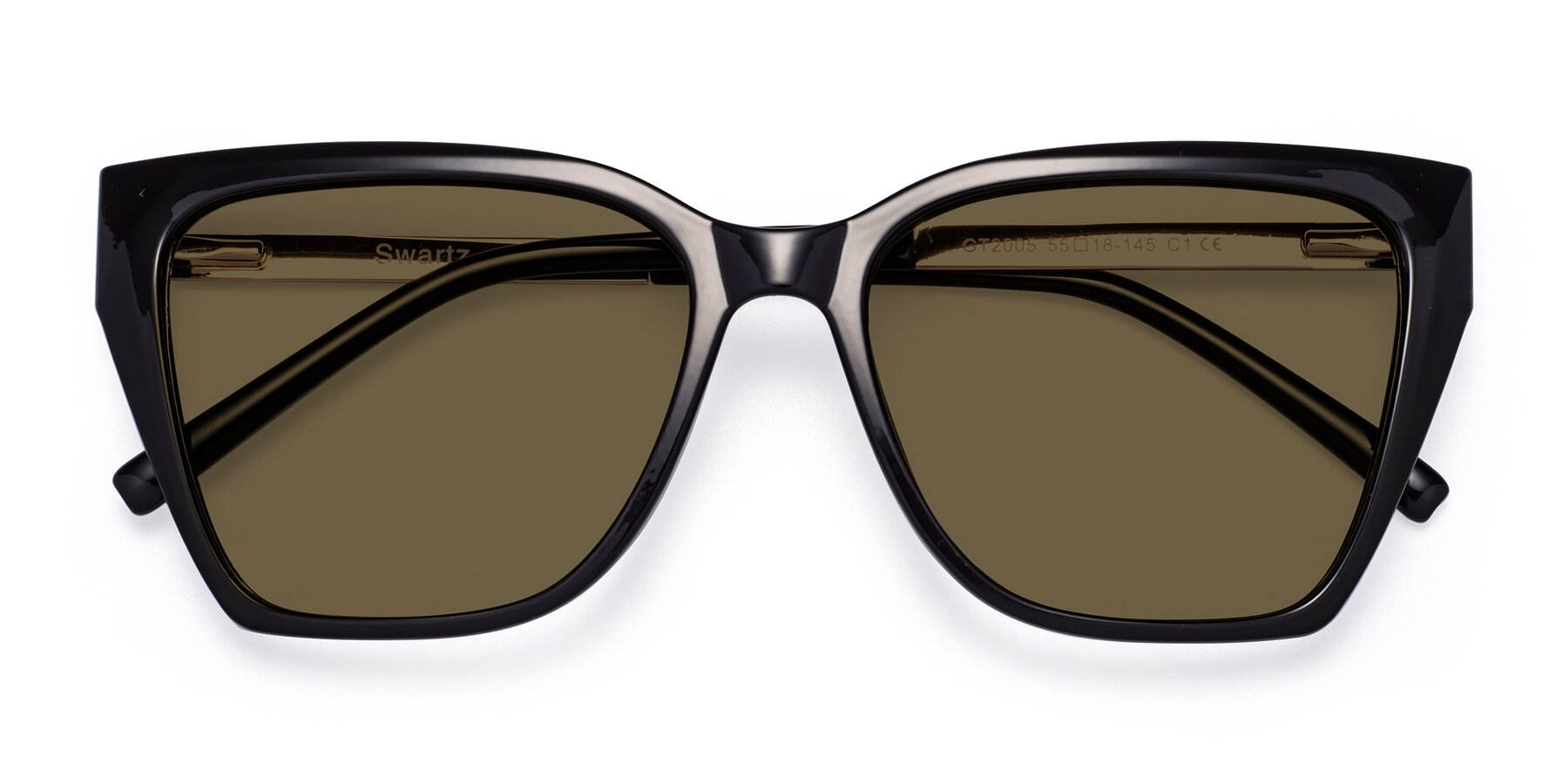 Folded Front of Swartz in Black with Brown Polarized Lenses
