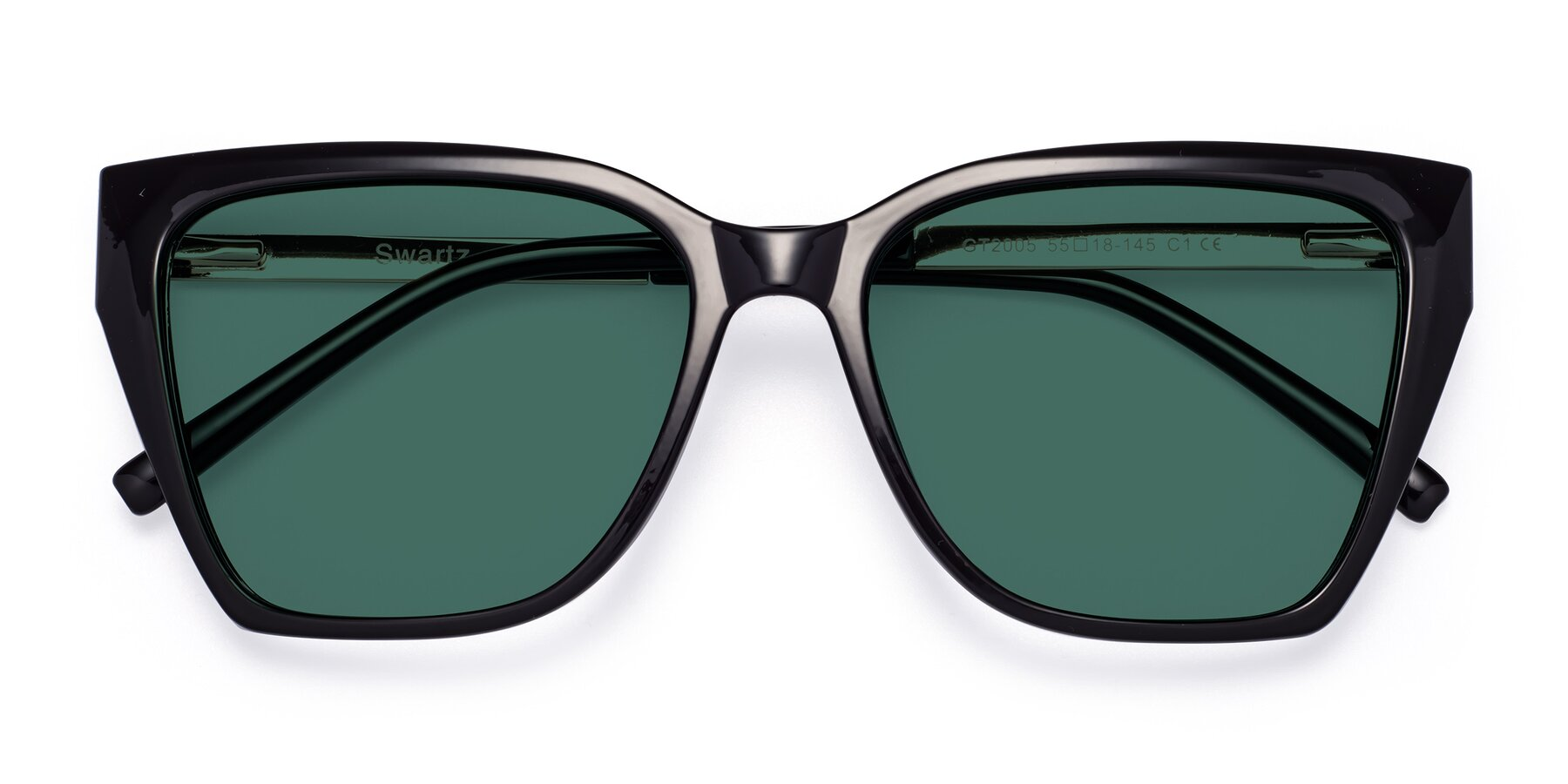 Folded Front of Swartz in Black with Green Polarized Lenses