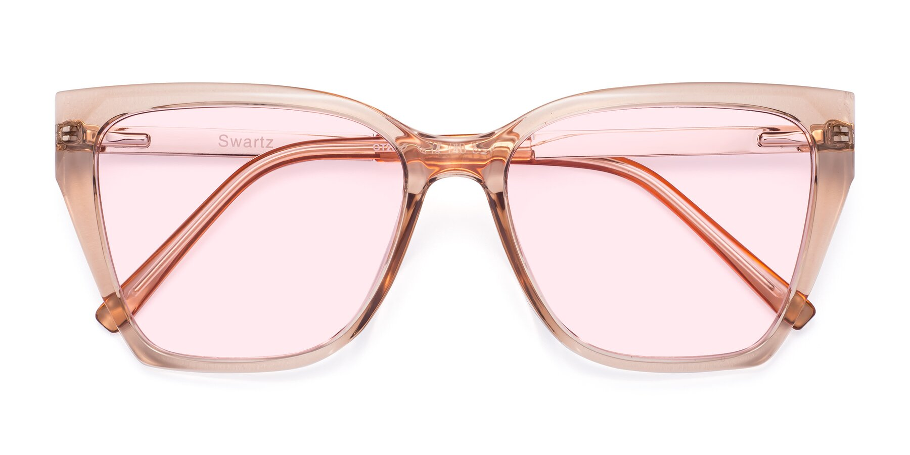 Folded Front of Swartz in Amber with Light Pink Tinted Lenses