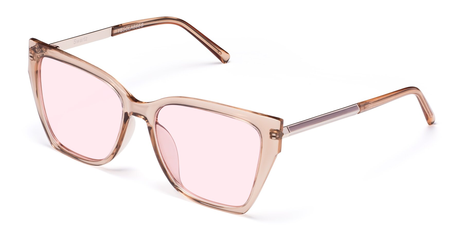 Angle of Swartz in Amber with Light Pink Tinted Lenses
