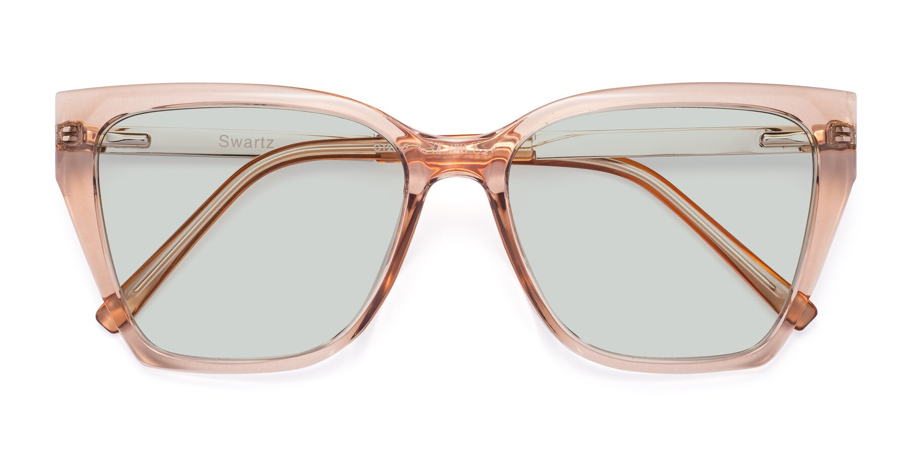 Folded Front of Swartz in Amber with Light Green Tinted Lenses