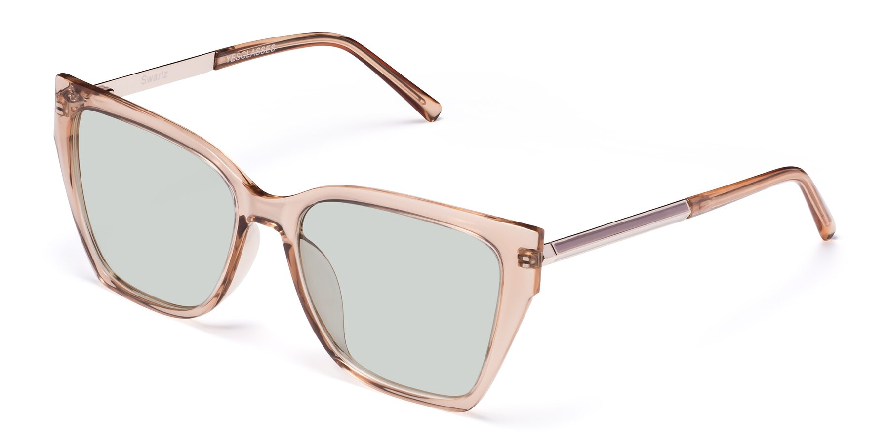 Angle of Swartz in Amber with Light Green Tinted Lenses