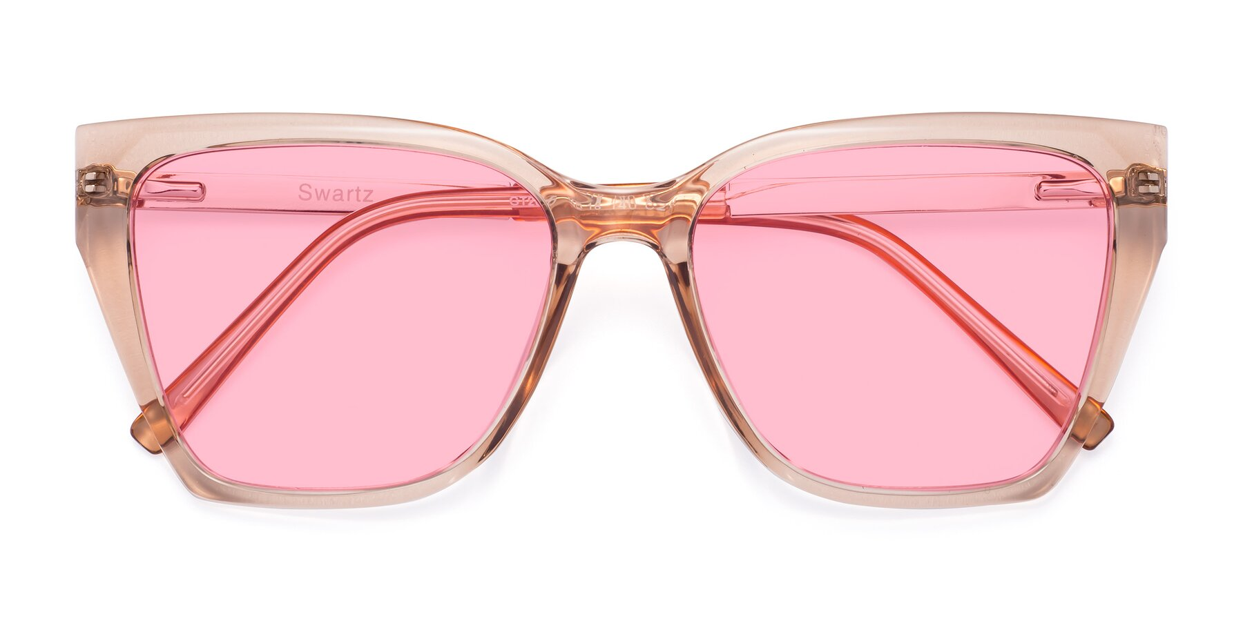 Folded Front of Swartz in Amber with Medium Pink Tinted Lenses