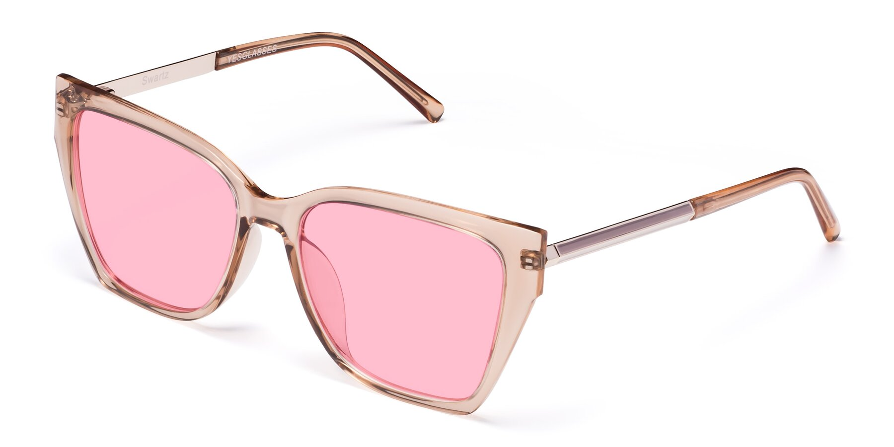 Angle of Swartz in Amber with Medium Pink Tinted Lenses