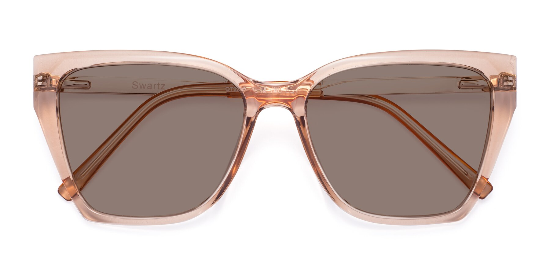 Folded Front of Swartz in Amber with Medium Brown Tinted Lenses