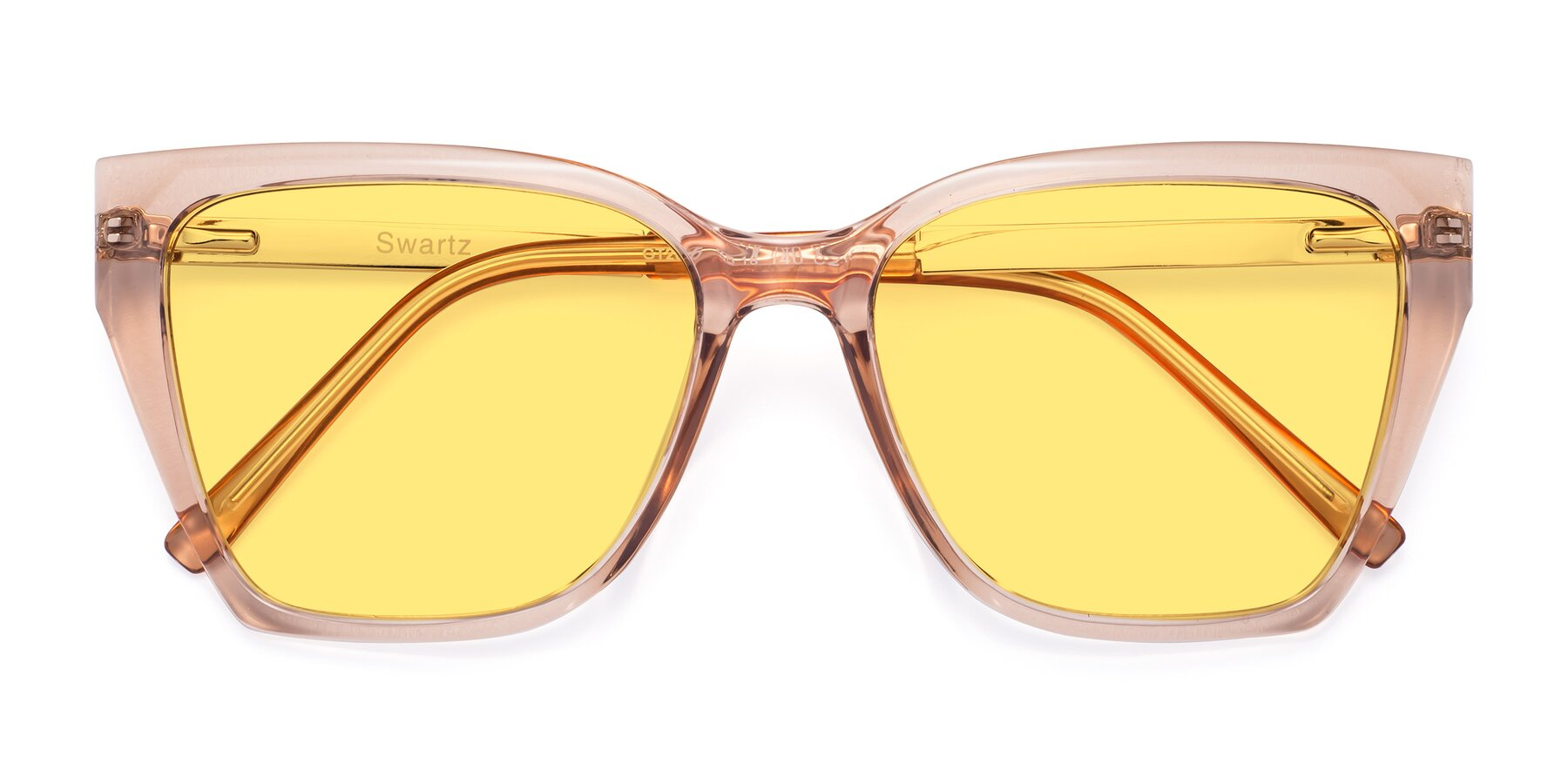 Folded Front of Swartz in Amber with Medium Yellow Tinted Lenses