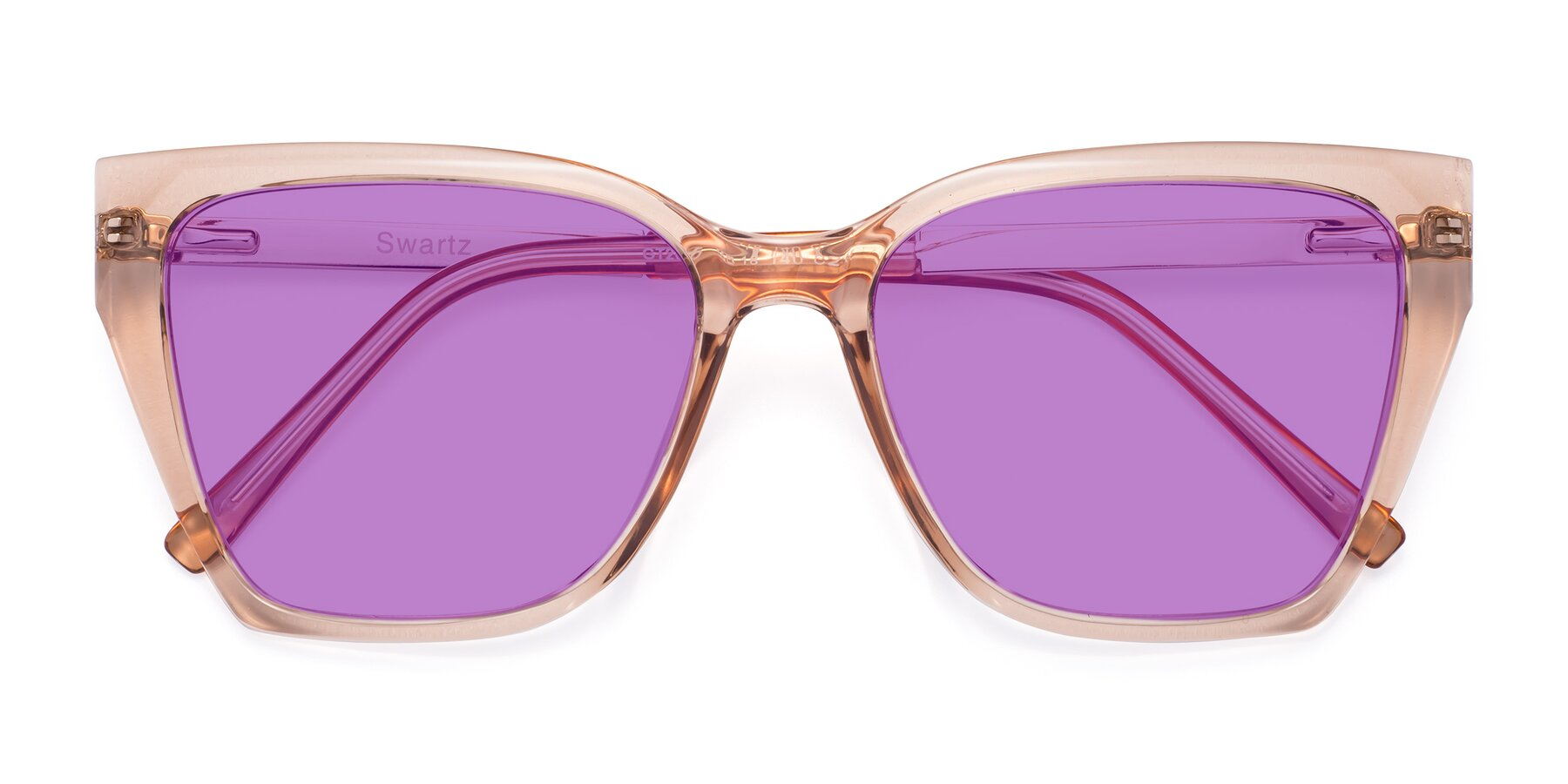 Folded Front of Swartz in Amber with Medium Purple Tinted Lenses