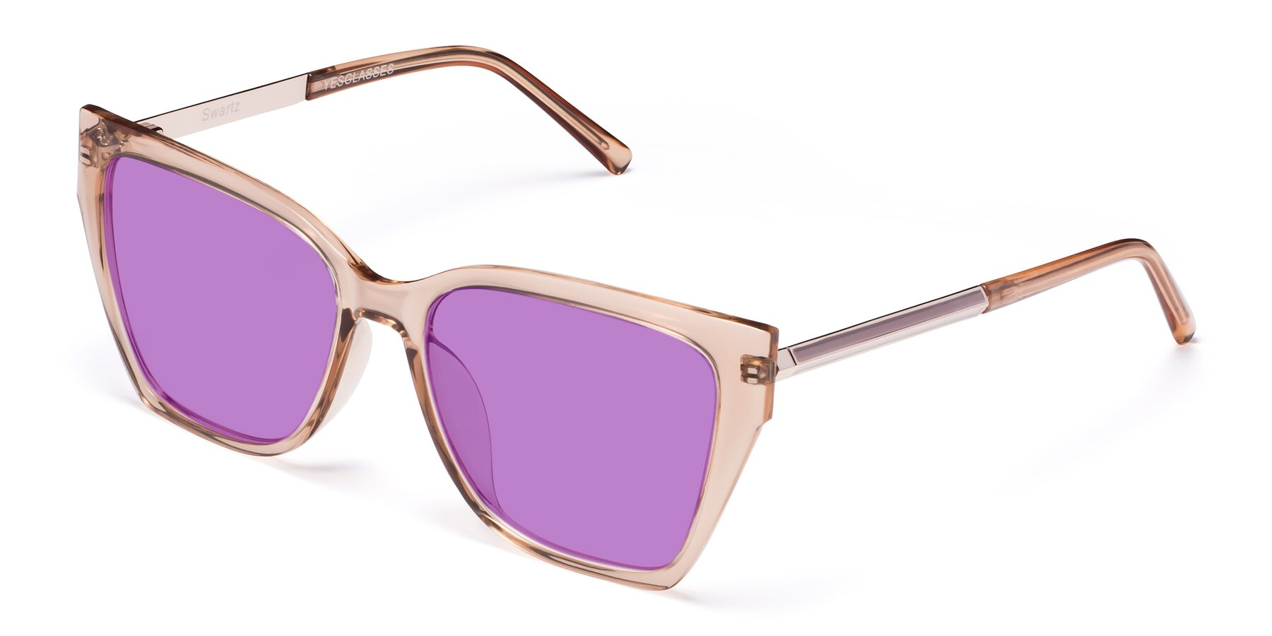 Angle of Swartz in Amber with Medium Purple Tinted Lenses