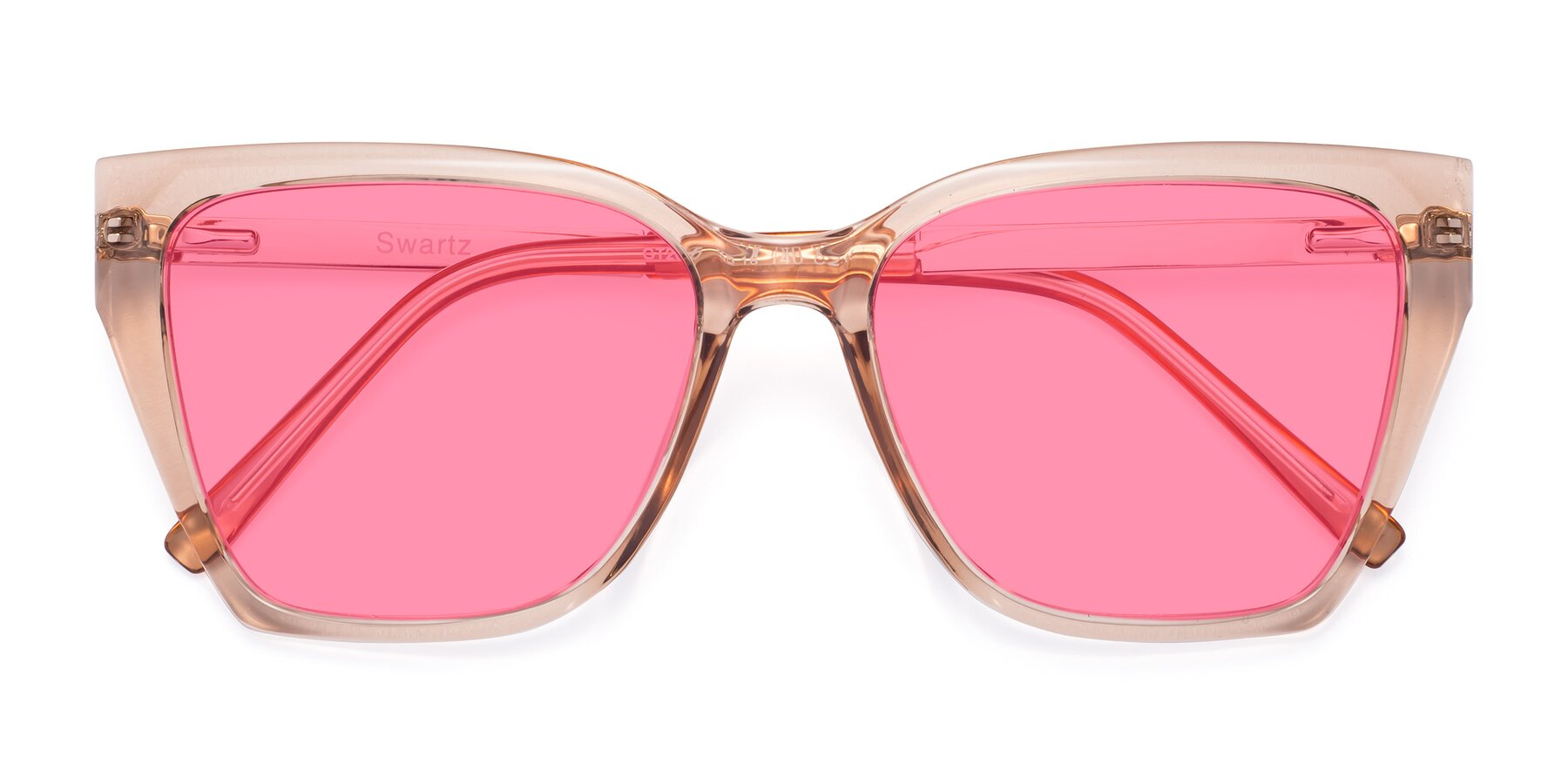 Folded Front of Swartz in Amber with Pink Tinted Lenses