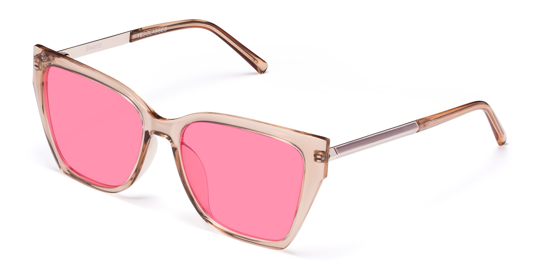 Angle of Swartz in Amber with Pink Tinted Lenses