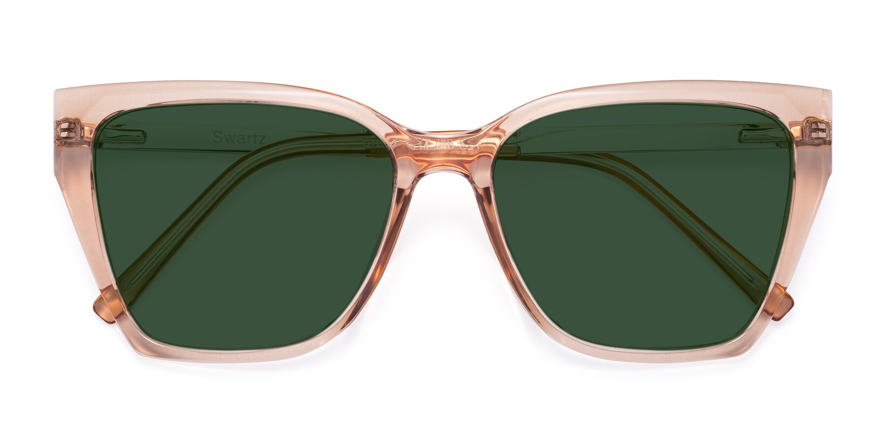 Folded Front of Swartz in Amber with Green Tinted Lenses