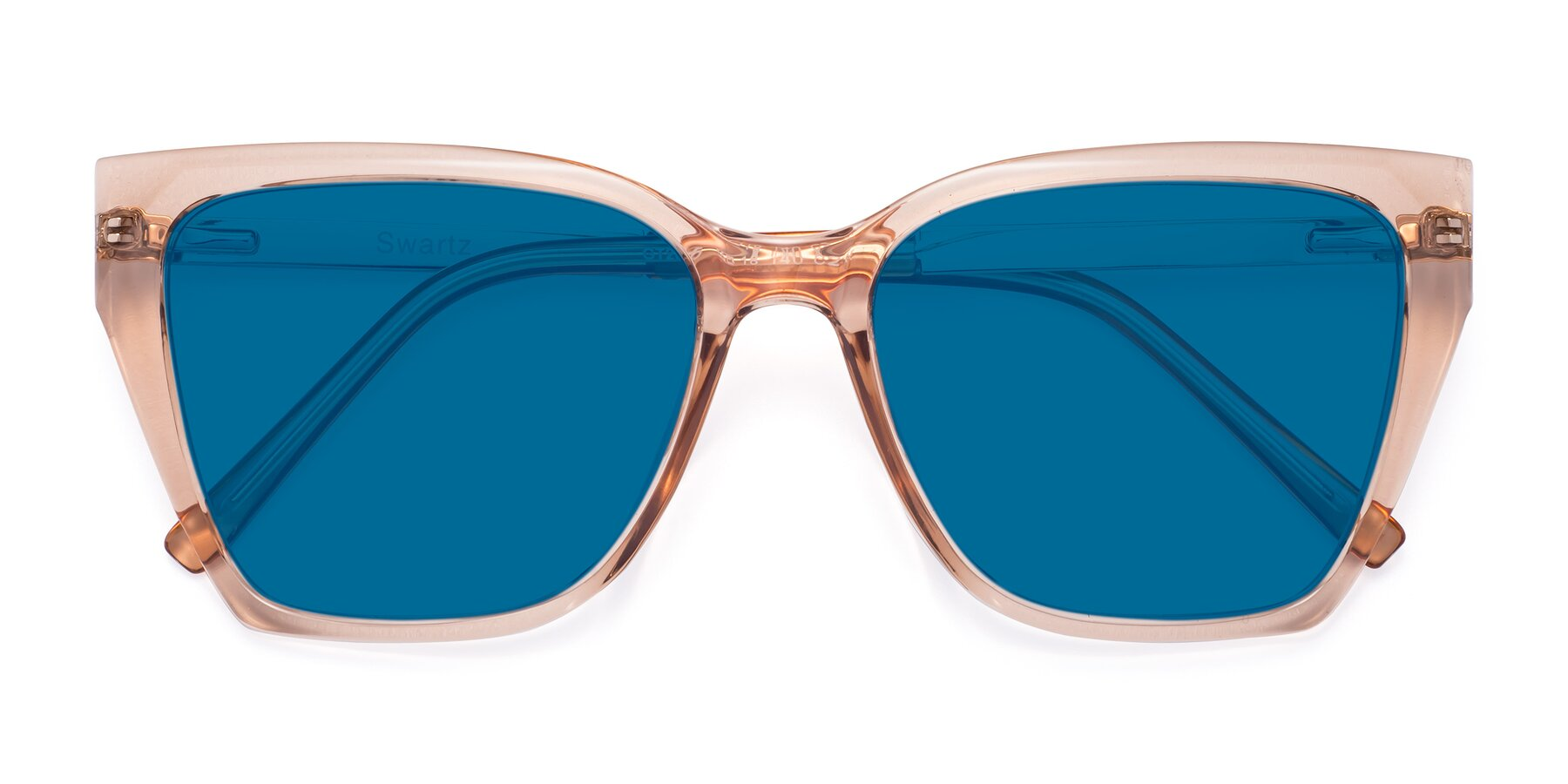 Folded Front of Swartz in Amber with Blue Tinted Lenses