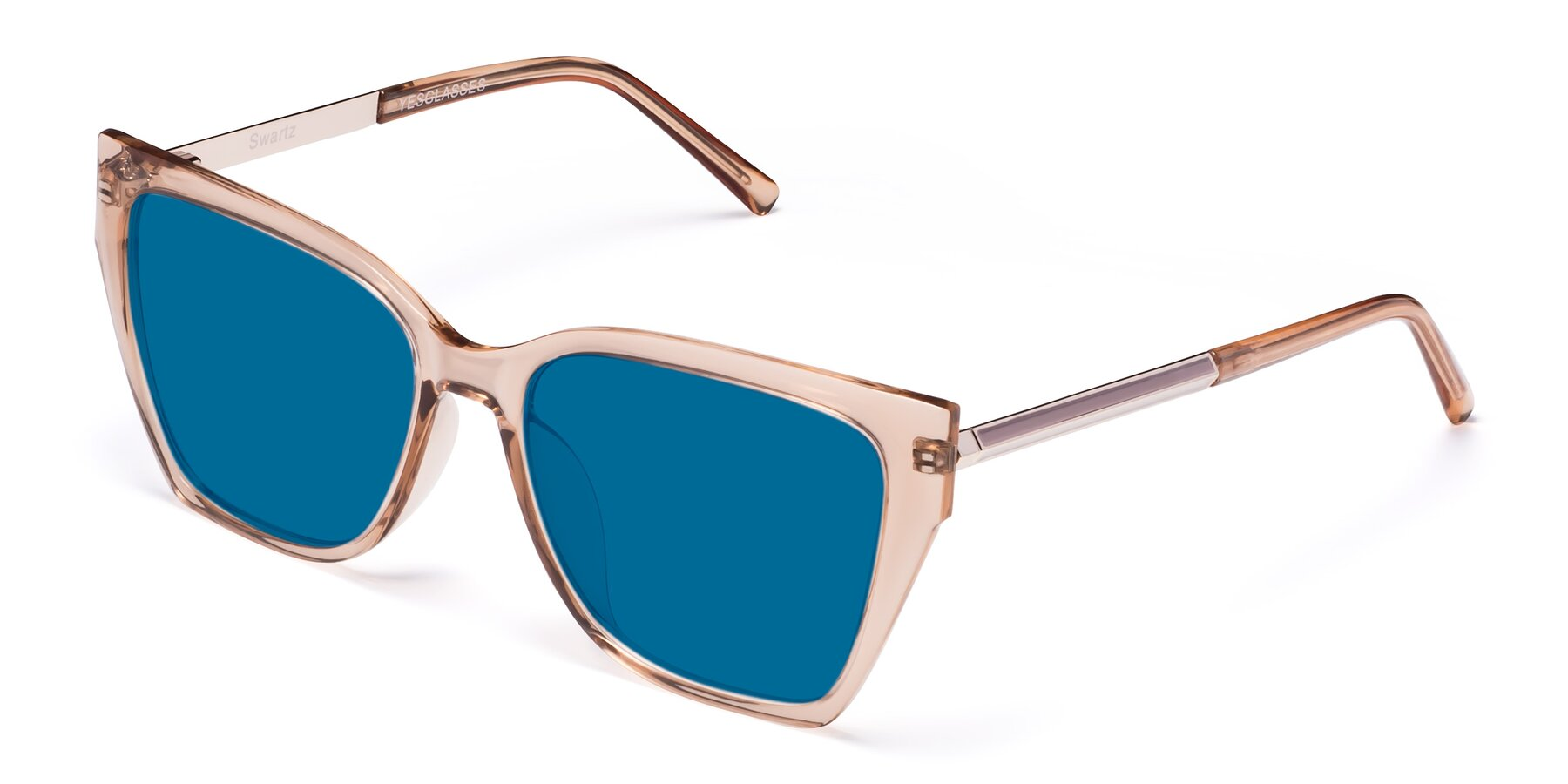 Angle of Swartz in Amber with Blue Tinted Lenses
