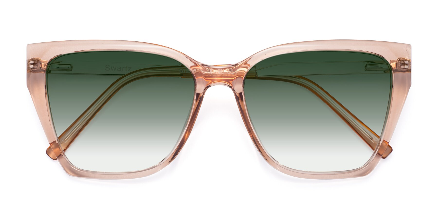 Folded Front of Swartz in Amber with Green Gradient Lenses