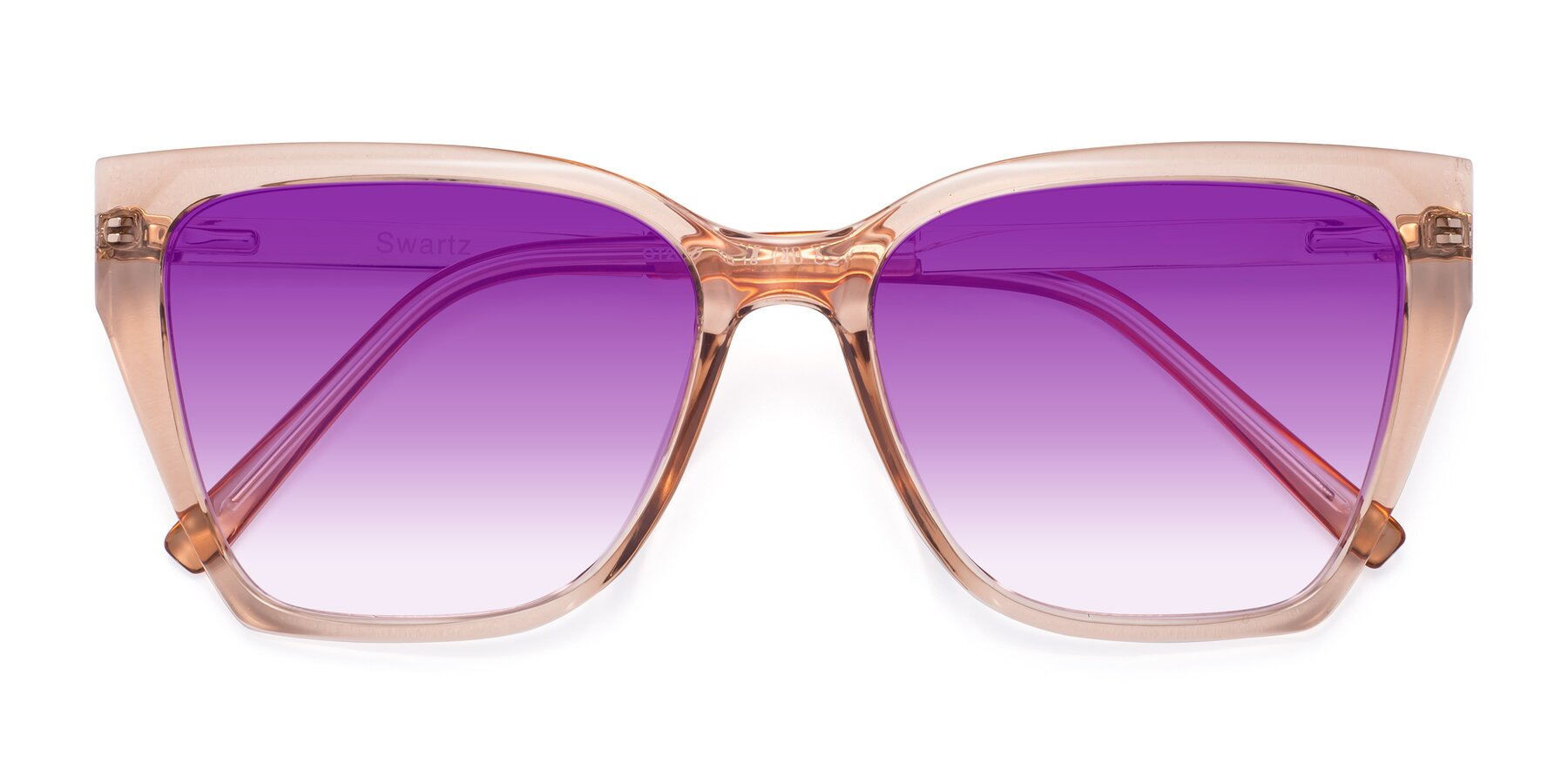 Folded Front of Swartz in Amber with Purple Gradient Lenses