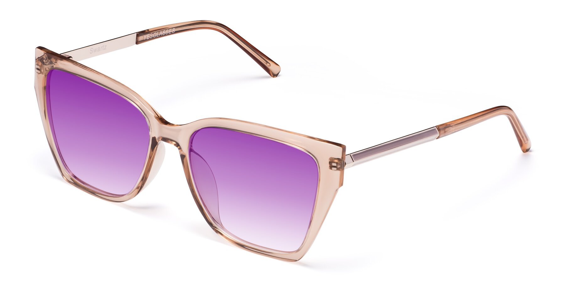 Angle of Swartz in Amber with Purple Gradient Lenses