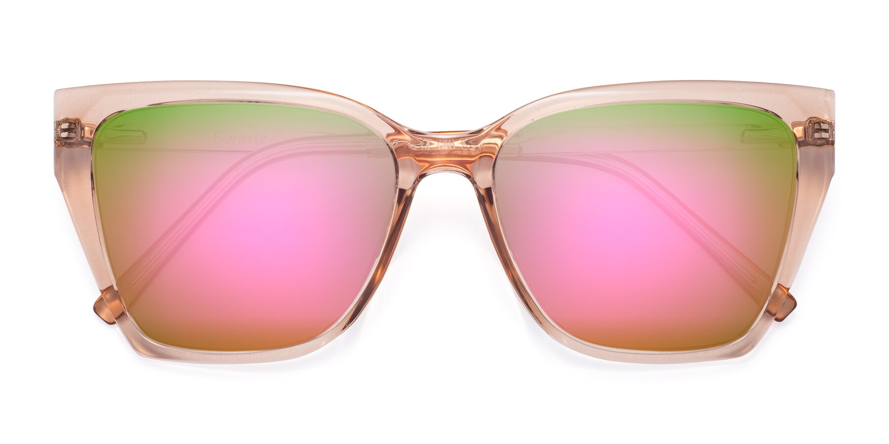 Folded Front of Swartz in Amber with Pink Mirrored Lenses