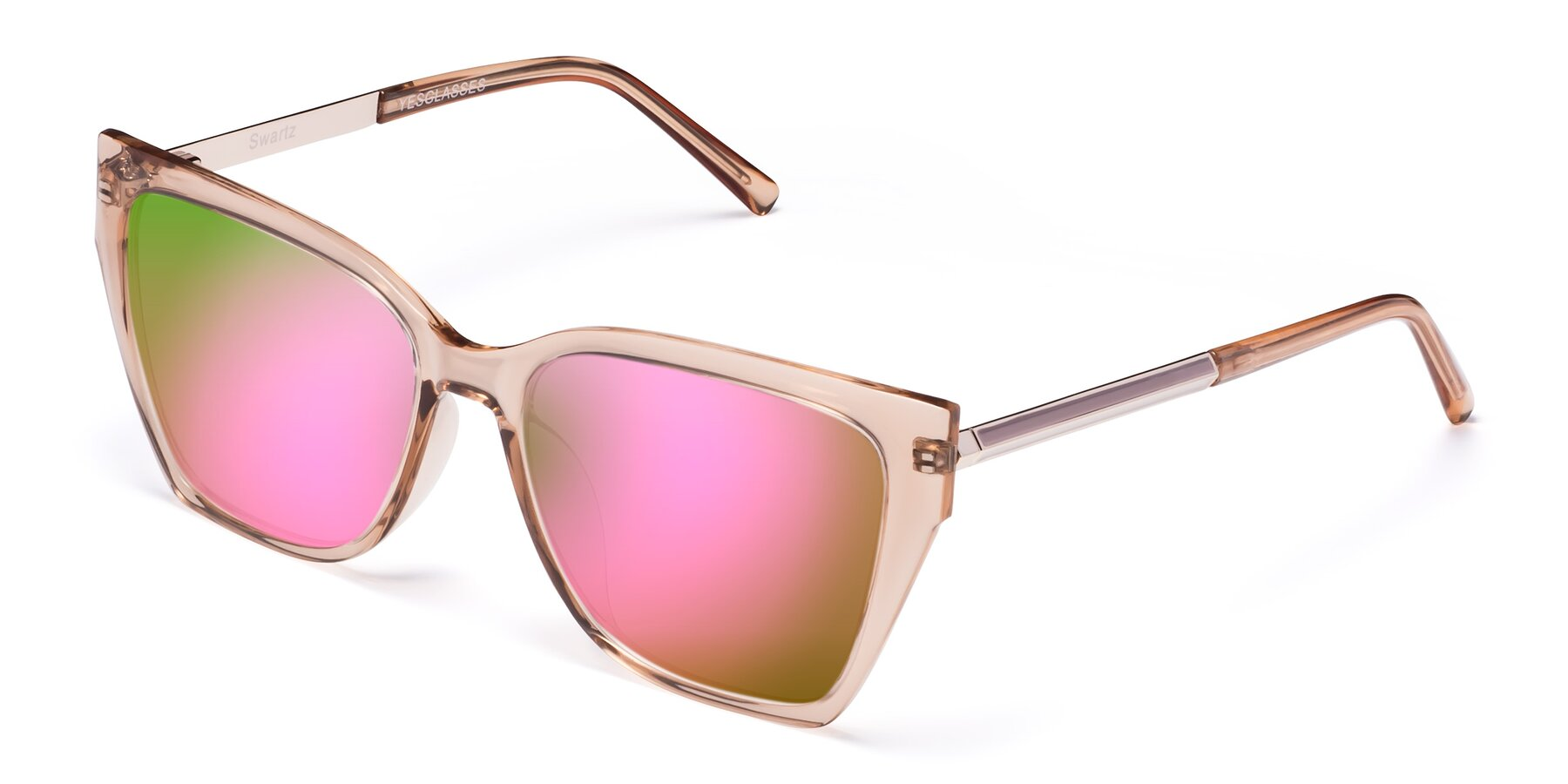 Angle of Swartz in Amber with Pink Mirrored Lenses