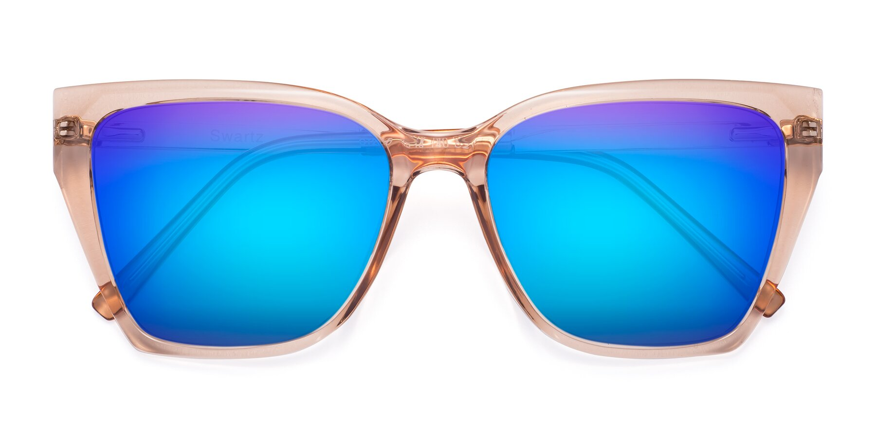 Folded Front of Swartz in Amber with Blue Mirrored Lenses