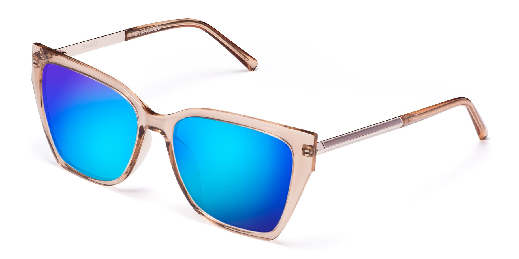 Angle of Swartz in Amber with Blue Mirrored Lenses