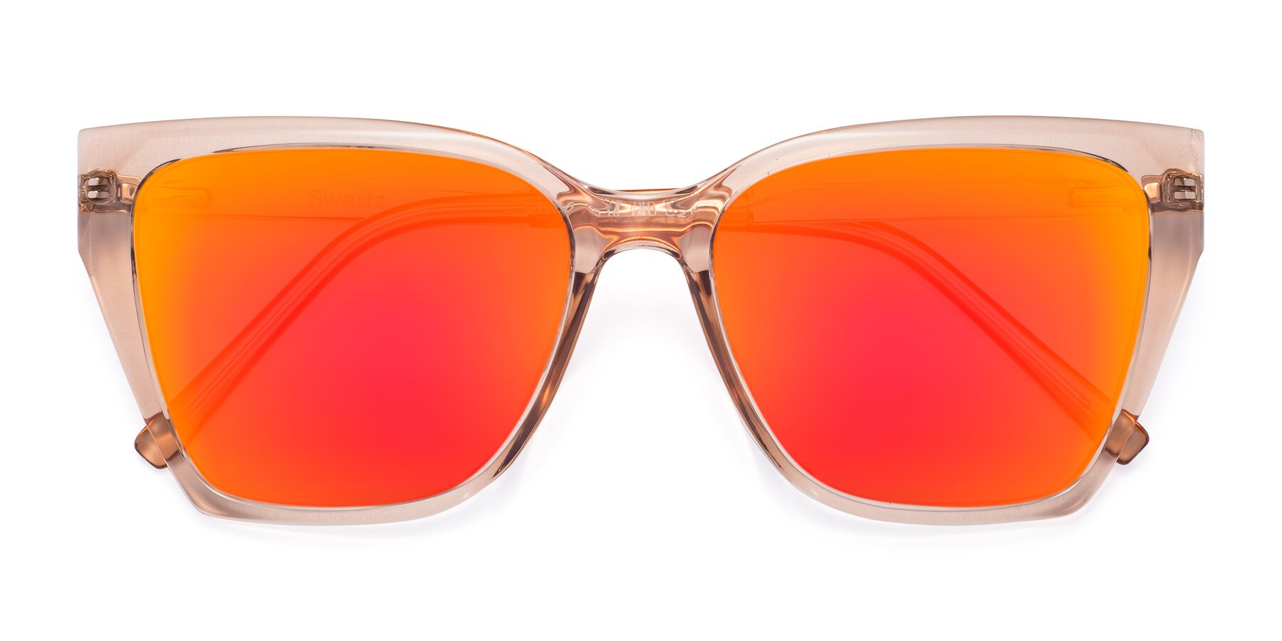 Folded Front of Swartz in Amber with Red Gold Mirrored Lenses