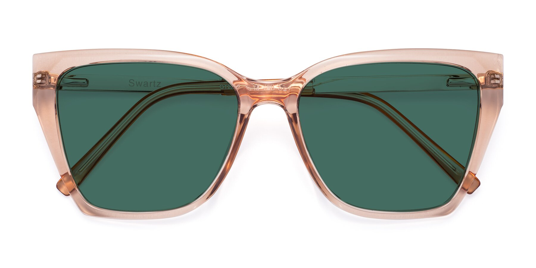 Folded Front of Swartz in Amber with Green Polarized Lenses