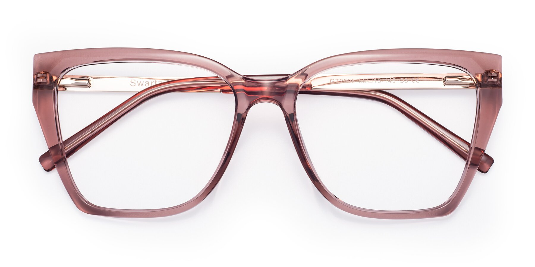 Folded Front of Swartz in Grape with Clear Eyeglass Lenses