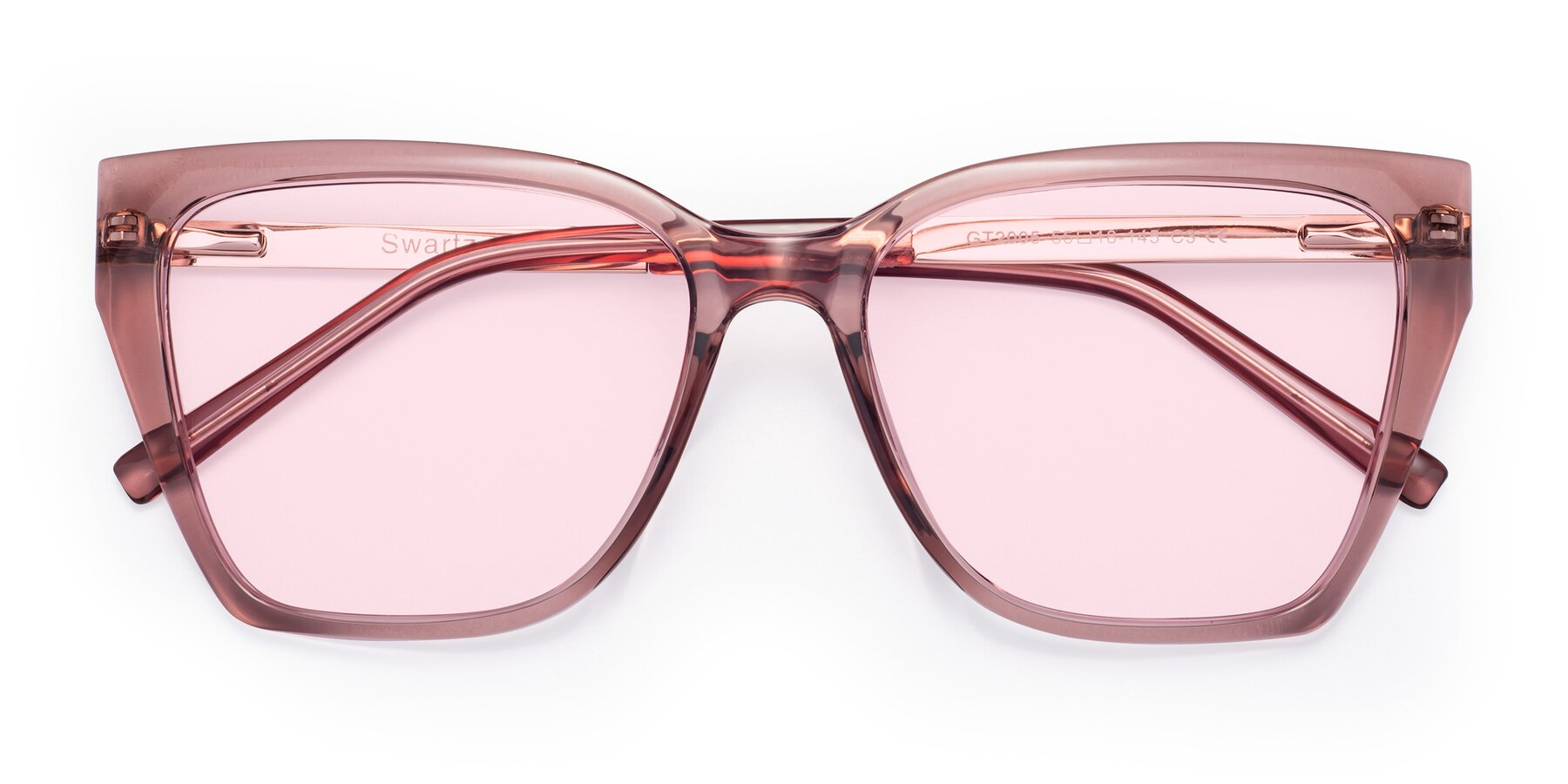 Folded Front of Swartz in Grape with Light Pink Tinted Lenses