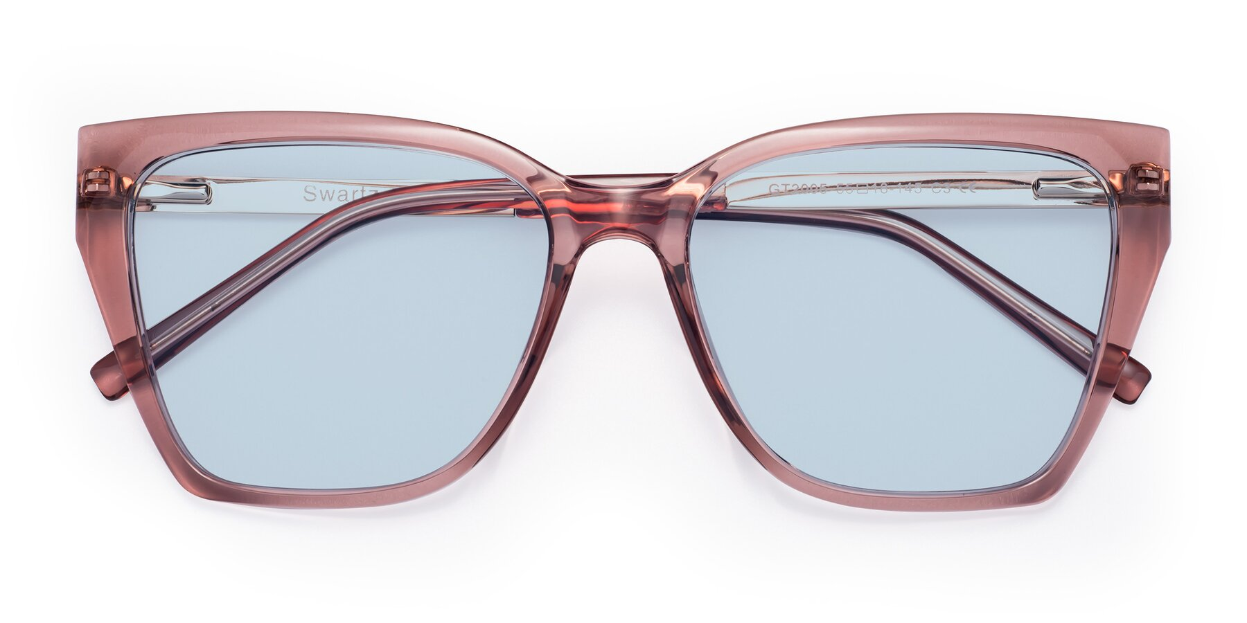 Folded Front of Swartz in Grape with Light Blue Tinted Lenses