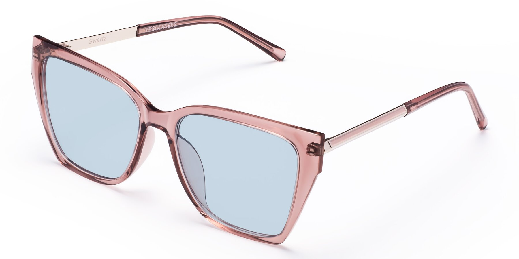 Angle of Swartz in Grape with Light Blue Tinted Lenses