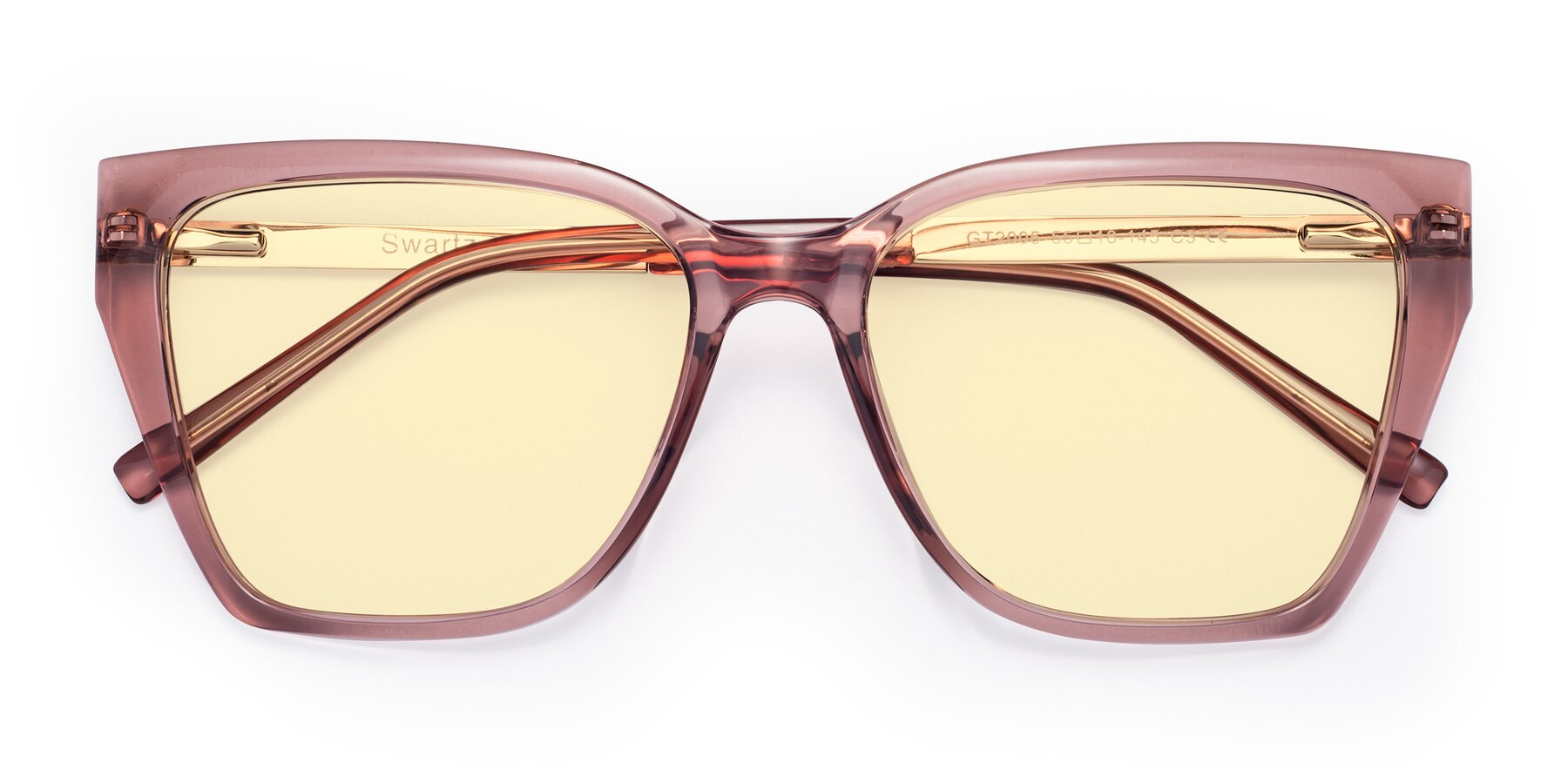 Folded Front of Swartz in Grape with Light Yellow Tinted Lenses