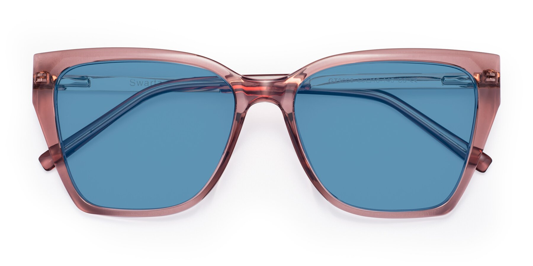 Folded Front of Swartz in Grape with Medium Blue Tinted Lenses