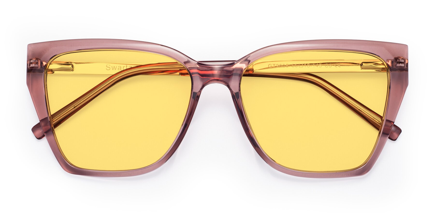 Folded Front of Swartz in Grape with Medium Yellow Tinted Lenses